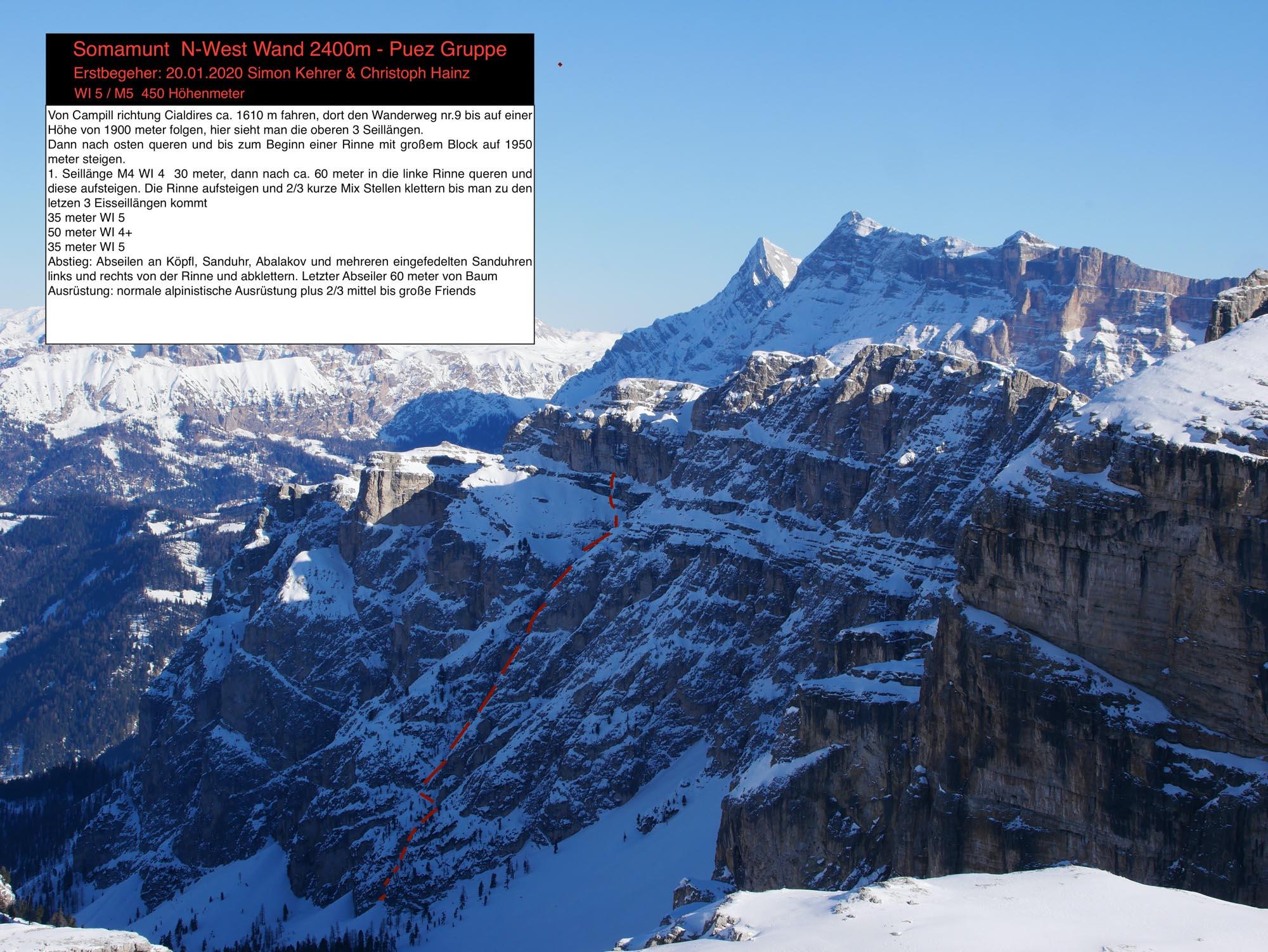 """Somamunt N-Westwand (WI5/M5)"" Puez Gruppe, Alta Badia"