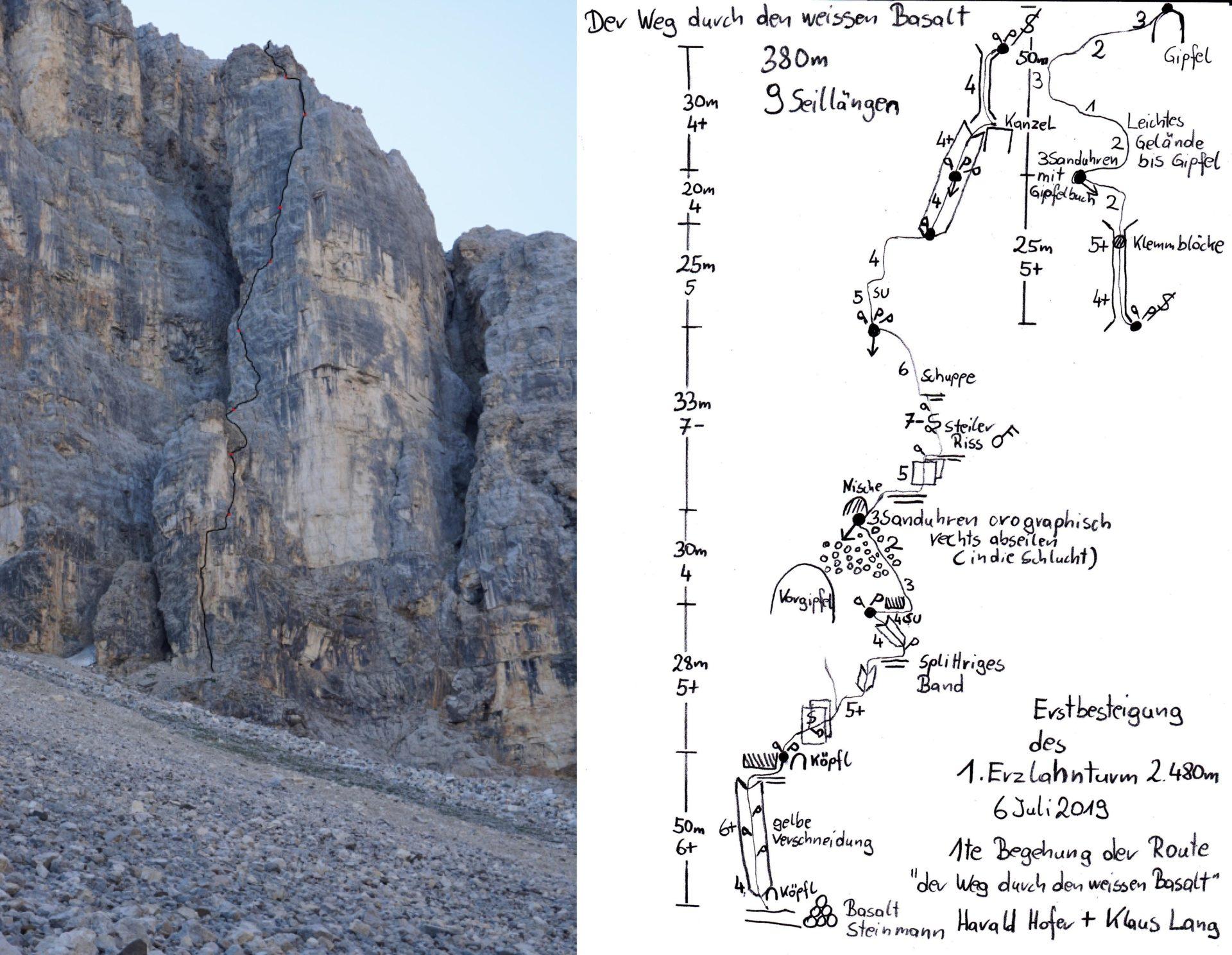 Routenskizze - Der Weg durch den weißen Basalt © Klaus Lang