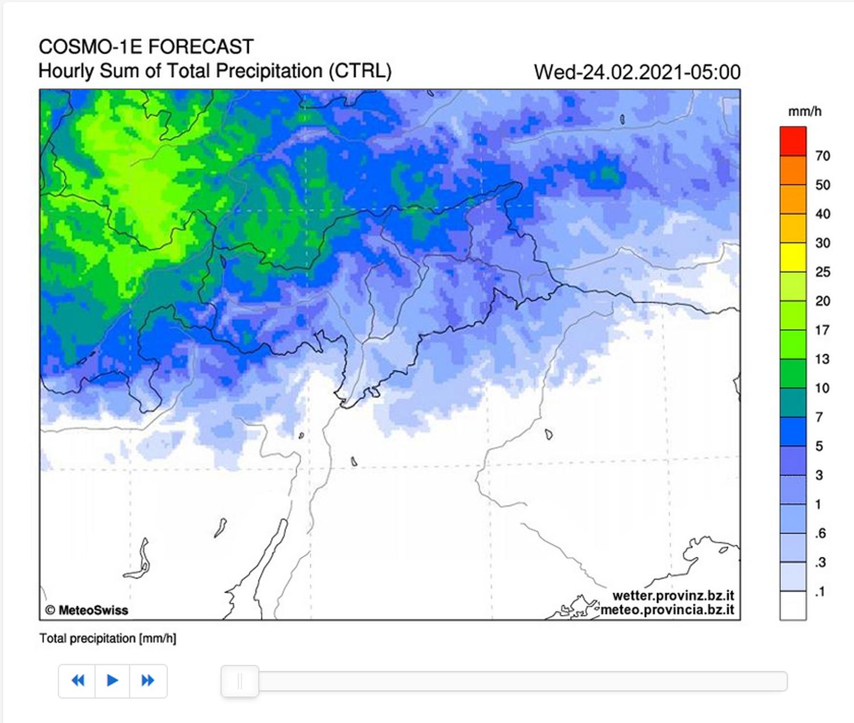 Niederschlagsvorhersage (c) Amt für Meteorologie