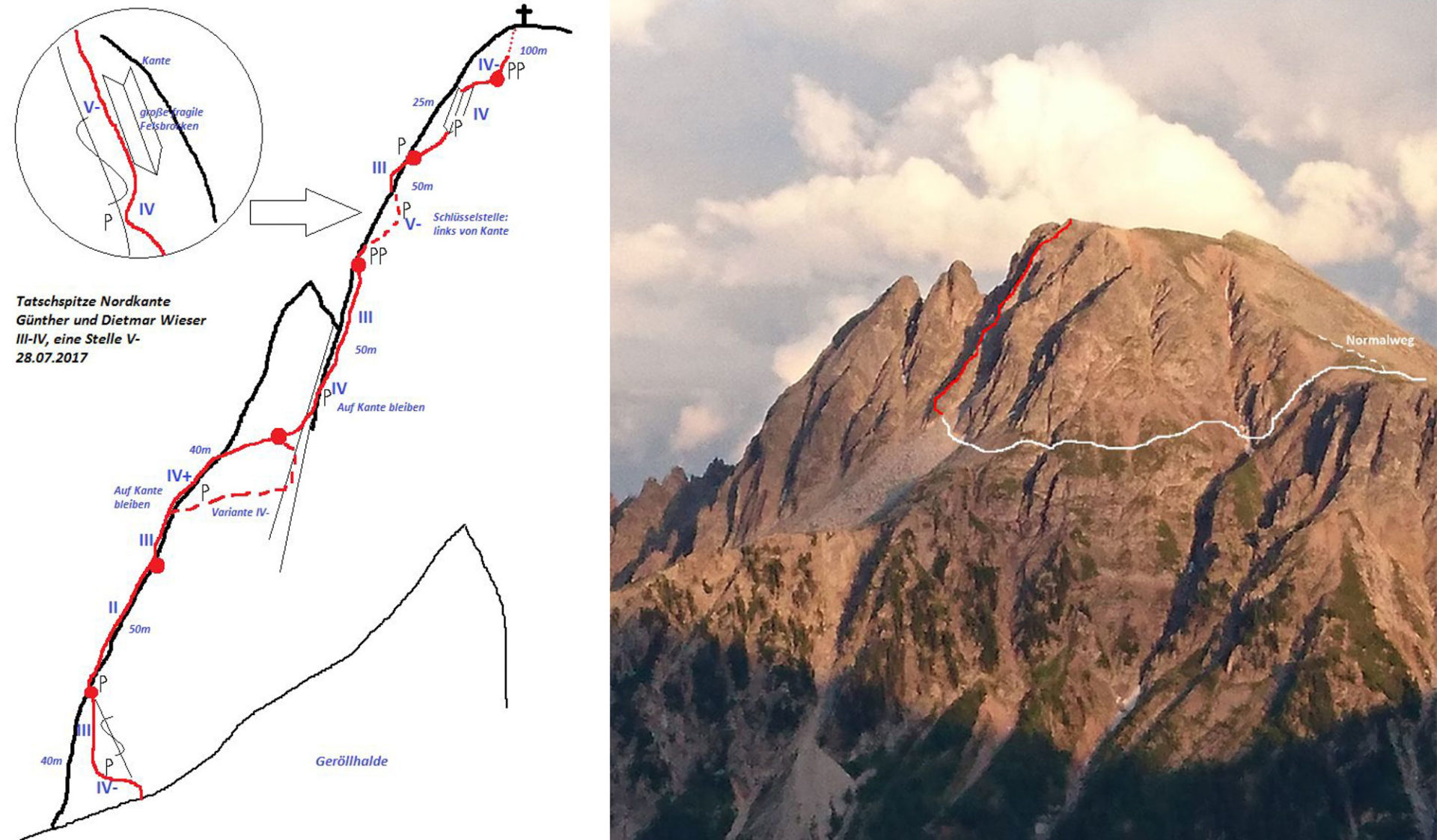 """Tatschspitze Nordkante (V-)"", Sarntaler Alpen"