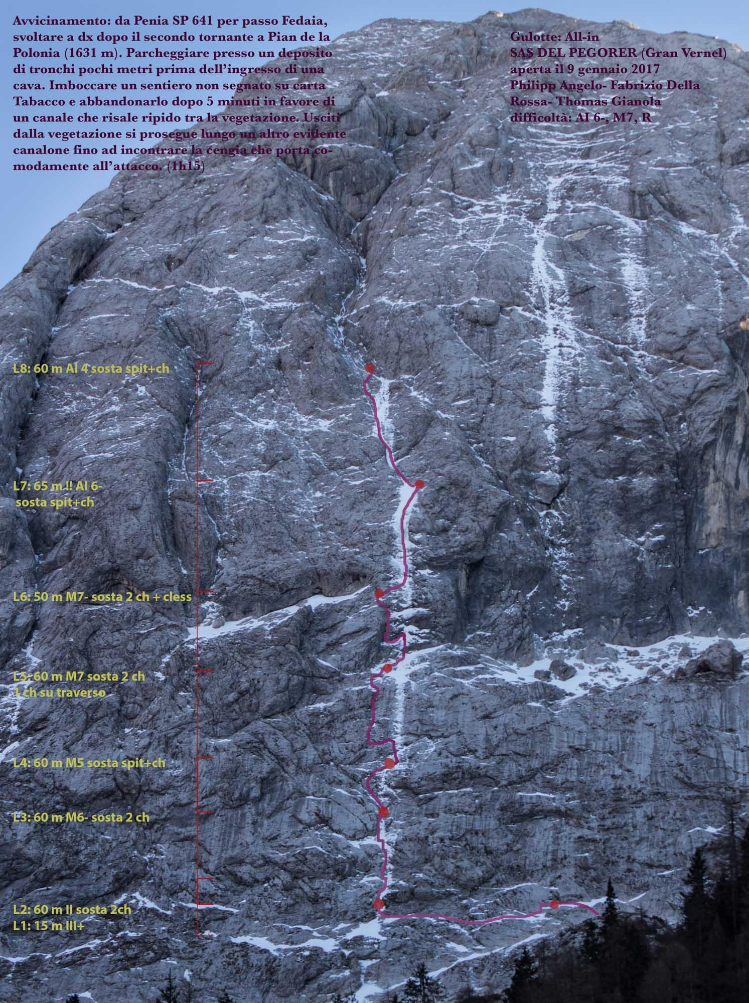 """""""All-in (M7, AI6-, R)"""", Sas del Pegorer Nordwand, Gran Vernel"""