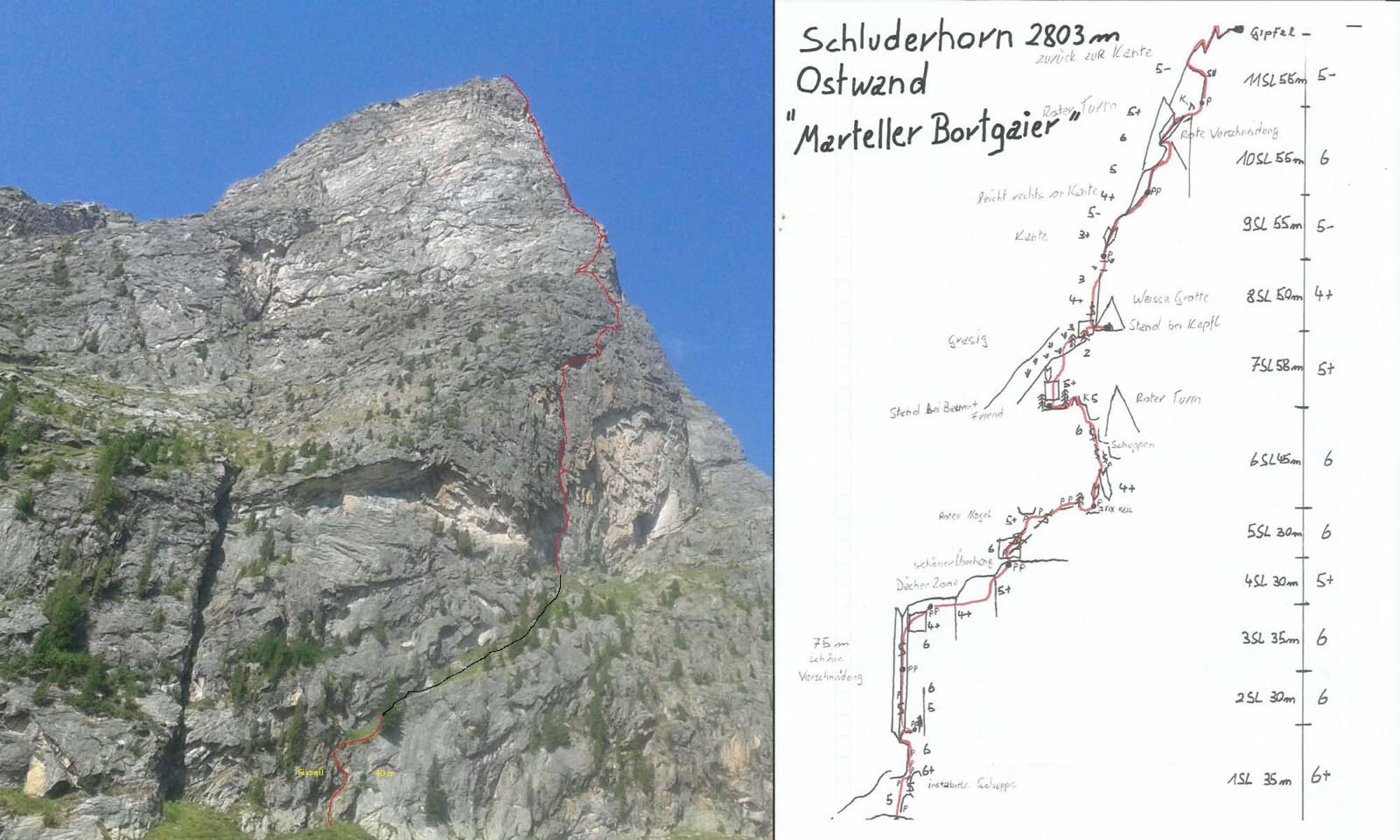 """""""Marteller Bortgaier (VI+)"""", Schluderhorn Ostwand, Martelltal"""