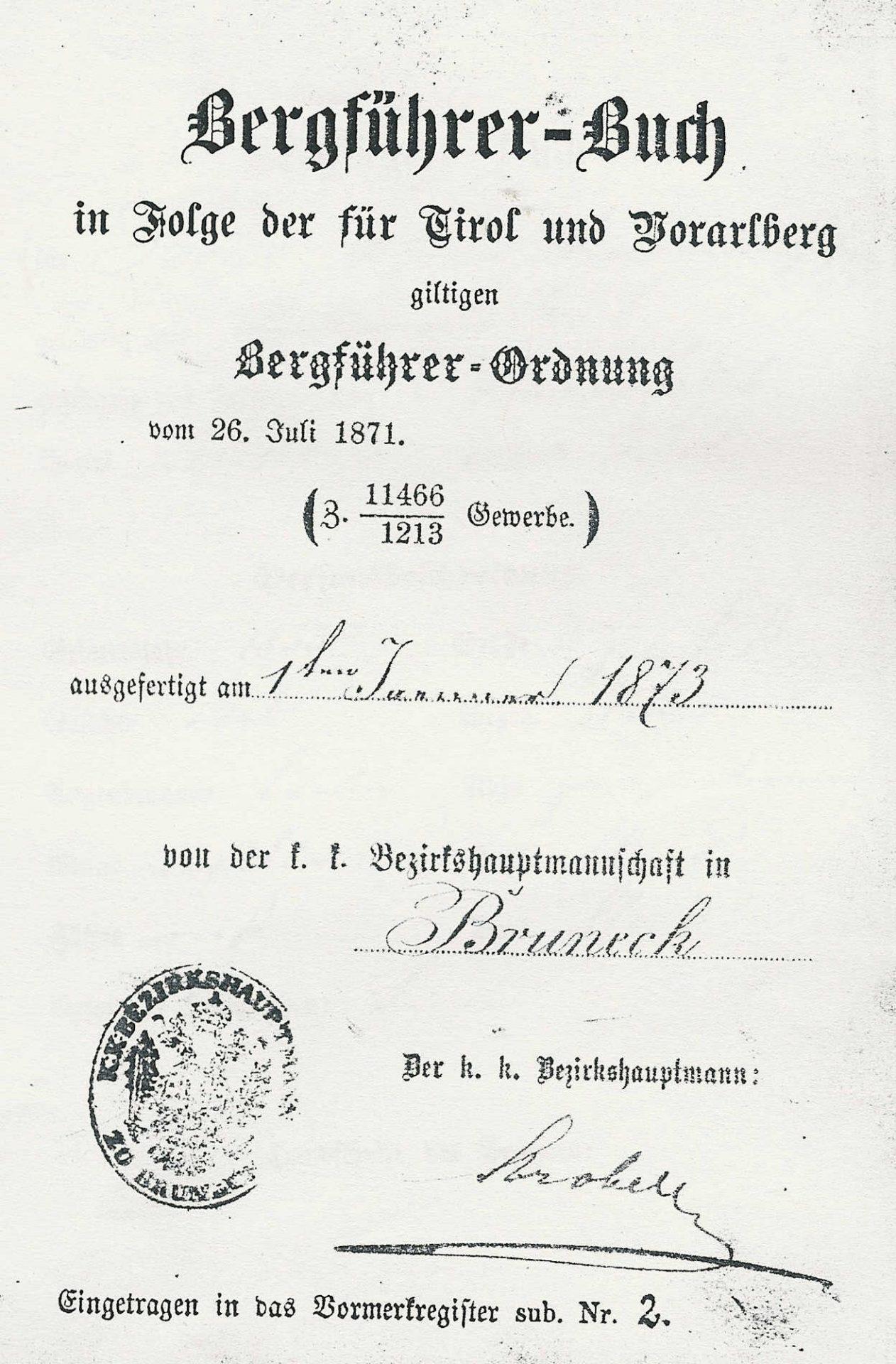 Bergführerbuch 1873 I Berge erleben © Archiv Ingrid Beikircher
