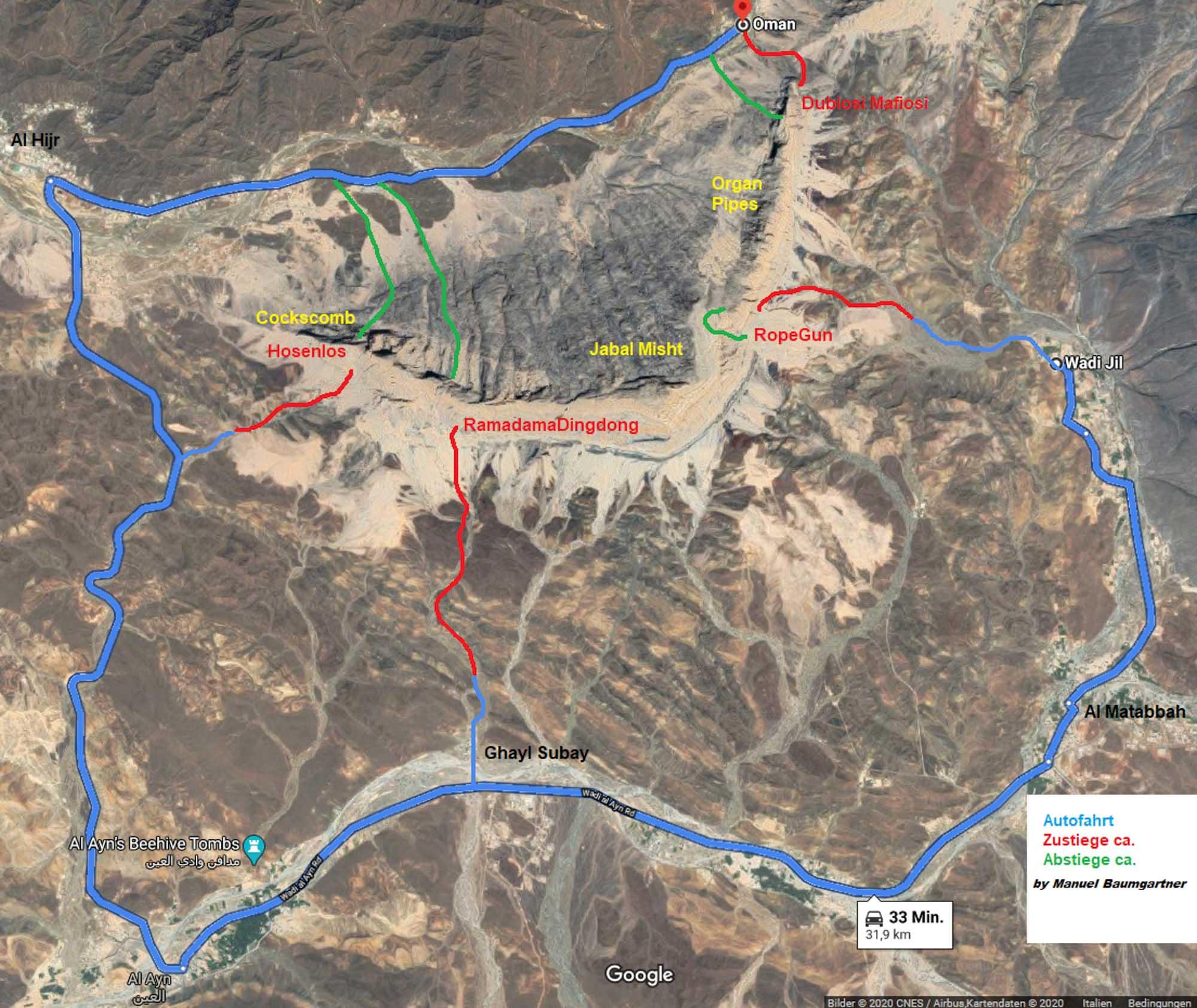 Zustieg Jabal Misht © Manuel Baumgartner und Dietmar Niederbrunner