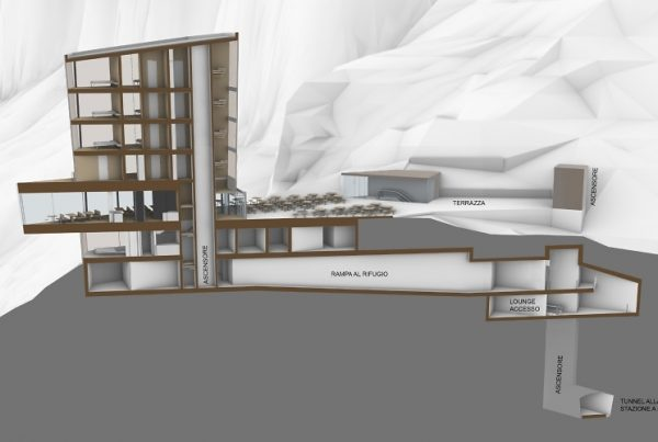 Schnitt mit Glasbau I Glasturm Rosengarten © Latemar Carezza GmbH
