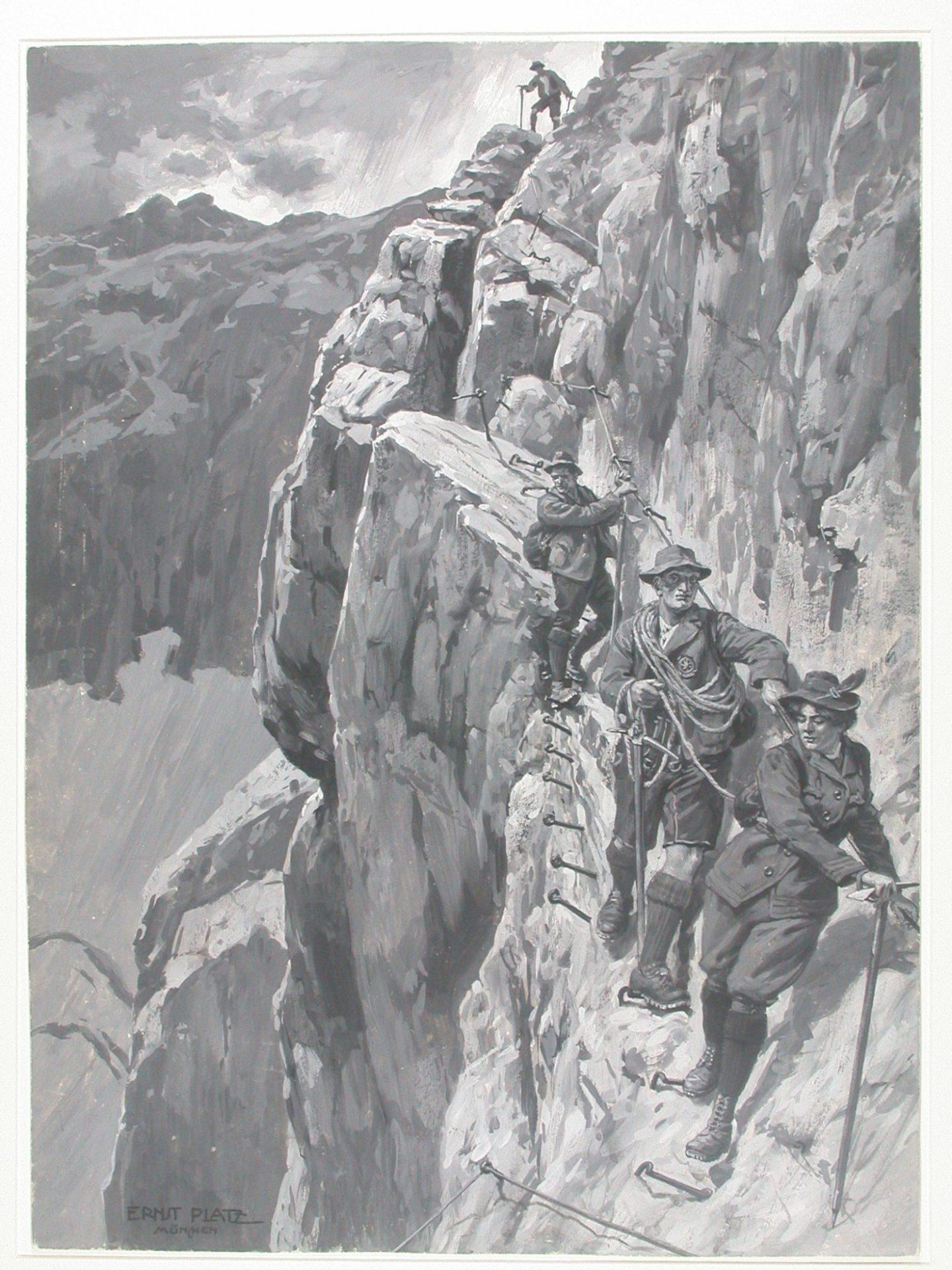 Abstieg durch das Höllental von der Zugspitz um 1900 I (c)DAV Archiv München