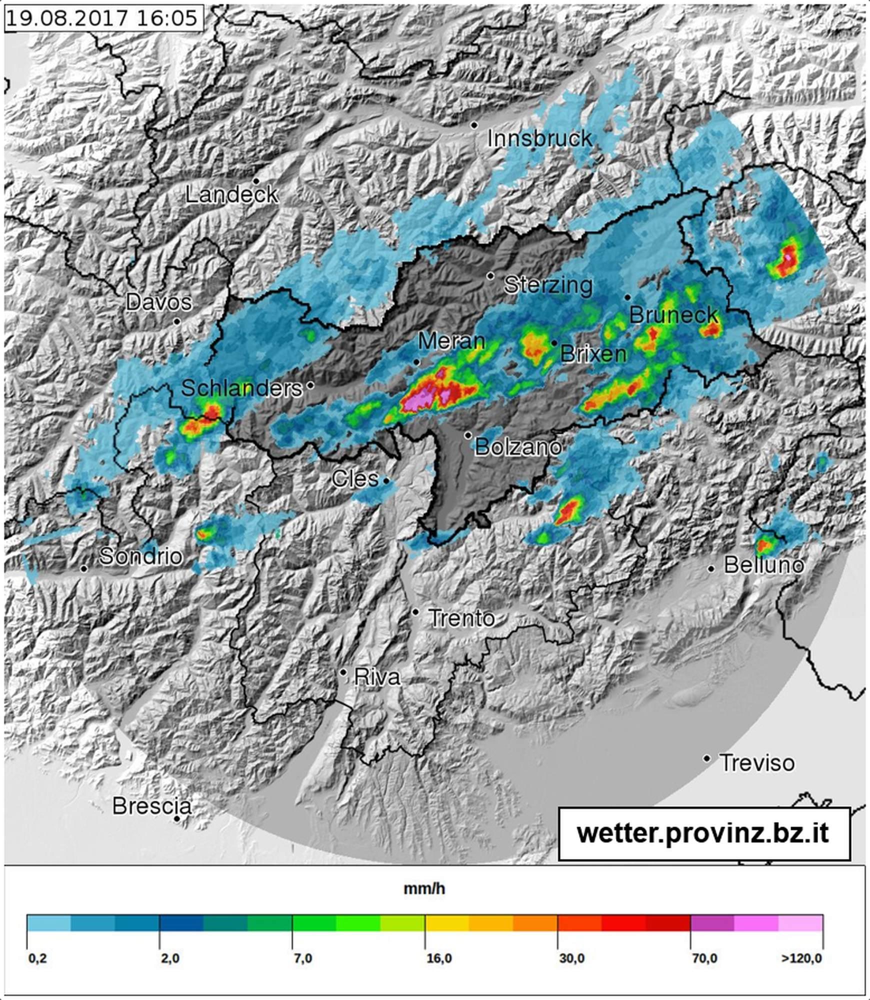 Niederschlagsradar © wetter.provinz.bz.it